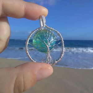 Emerald Green Silver Tree of Life Necklace